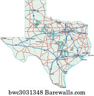 Road Map Of Texas State.Art Print Of Texas State Road Map Barewalls Posters Prints