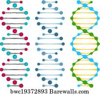 Art print of blueprint dna chains barewalls posters prints art print poster three variants of double strand dna molecules malvernweather Choice Image