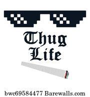 423ff4c0 Thug Life Art Print Poster - Thug Life Meme With Glasses And Cigarette