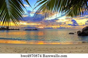 Tropical Caribbean Sunset Art Print Poster