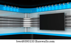 Art Print Of Tv Studio Red Backdrop For TV Shows On