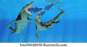 Western Interior Seaway Art Print Poster   Tylosaurus Marine Reptiles