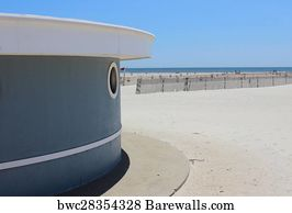 Jones Beach Art Print Poster Umbrella Stand At