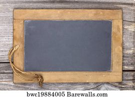 art print of very old slate chalkboard blank for to write on