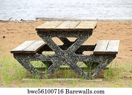 Picnic Table At The Beach Art Print Poster View Of A Cement