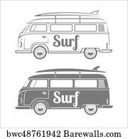 Art Print Of Vector Illustration Silhouette Vintage Volkswagen
