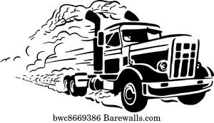 Truck Silhouette Art Print Poster