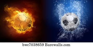 art print of water drops and fire flames around soccer ball on the