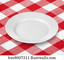 Red And White Gingham Checkered Tablecloth Background Art Print Poster    White Empty Plate On Red