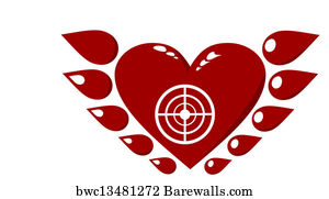 Art print of bullseye heart barewalls posters prints bwc20724032 art print poster winged red heart altavistaventures Images