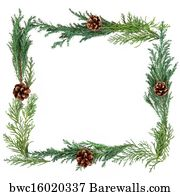 christmas greenery border art print poster winter greenery border - Christmas Greenery