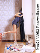 Dunny Door Art Print Poster - Woman Near Sliding-Door Wardrobe & 11 Dunny door Posters and Art Prints | Barewalls