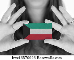 4366 kuwait posters and art prints barewalls kuwait art print poster woman showing a business card reheart Images