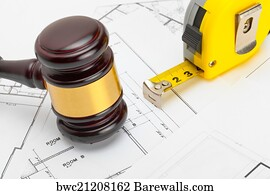 5333 construction law posters and art prints barewalls construction law art print poster wooden judge gavel with measure tape above construction blueprint malvernweather Images
