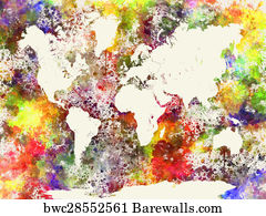 76333 paint splatter posters and art prints barewalls paint splatter art print poster world map in watercolor publicscrutiny Image collections