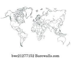 Art print of outline malaysia map barewalls posters prints art print poster world map outline illustration gumiabroncs Choice Image