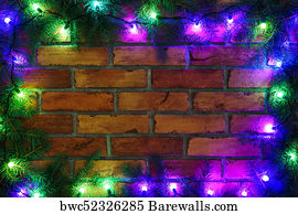 new year free fancy borders frames art print poster wreath and garlands of colored light bulbs